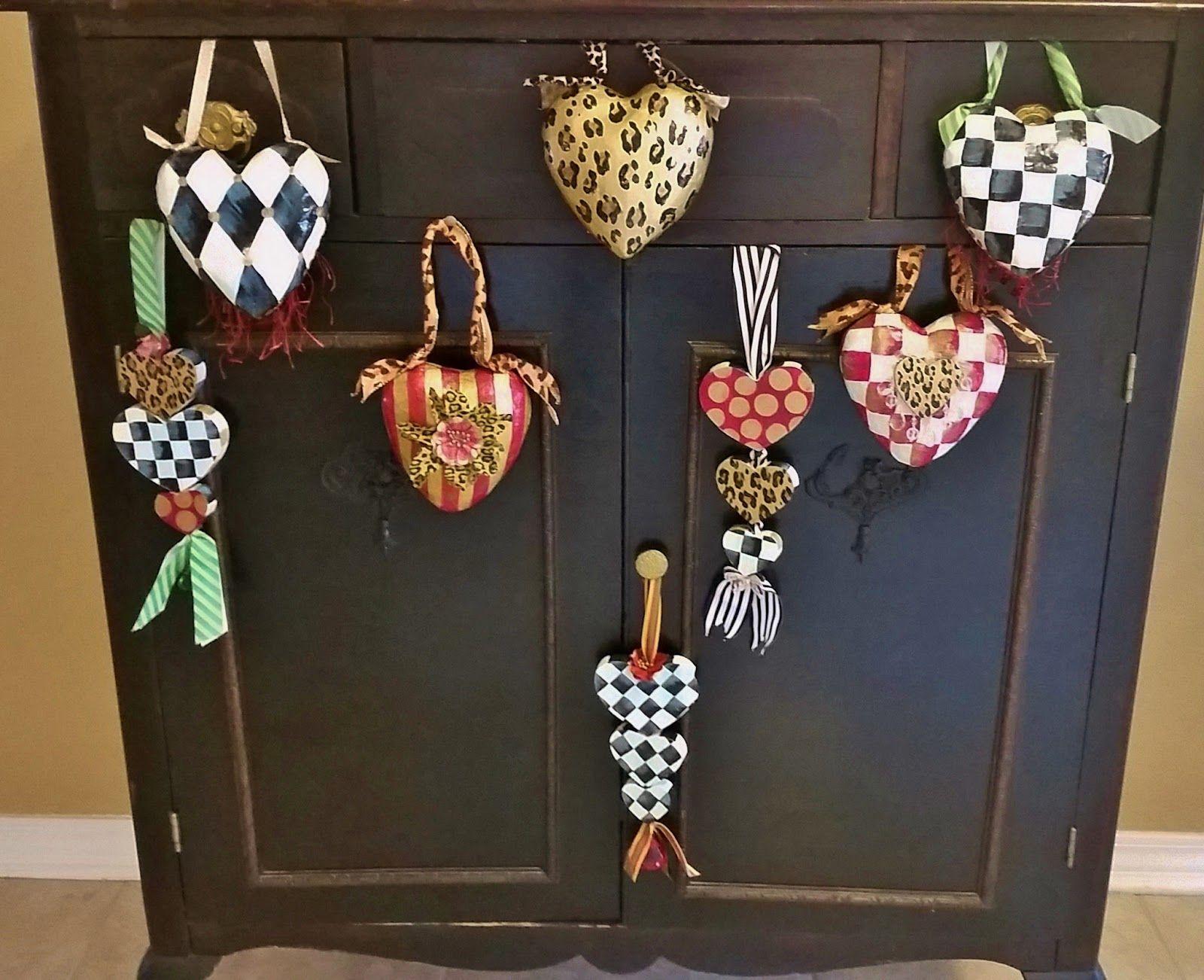 Hand Painted Valentine Heart Ornaments, Door Knob Hangers, Black and ...