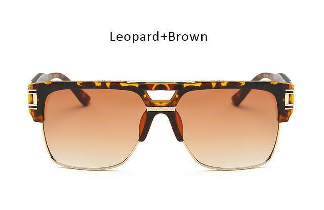 b7ddceb2064 Vintage Men Sunglasses Luxury Brand Designer Male Flat Top Big Square Frame  Mirror Sun Glasses Women