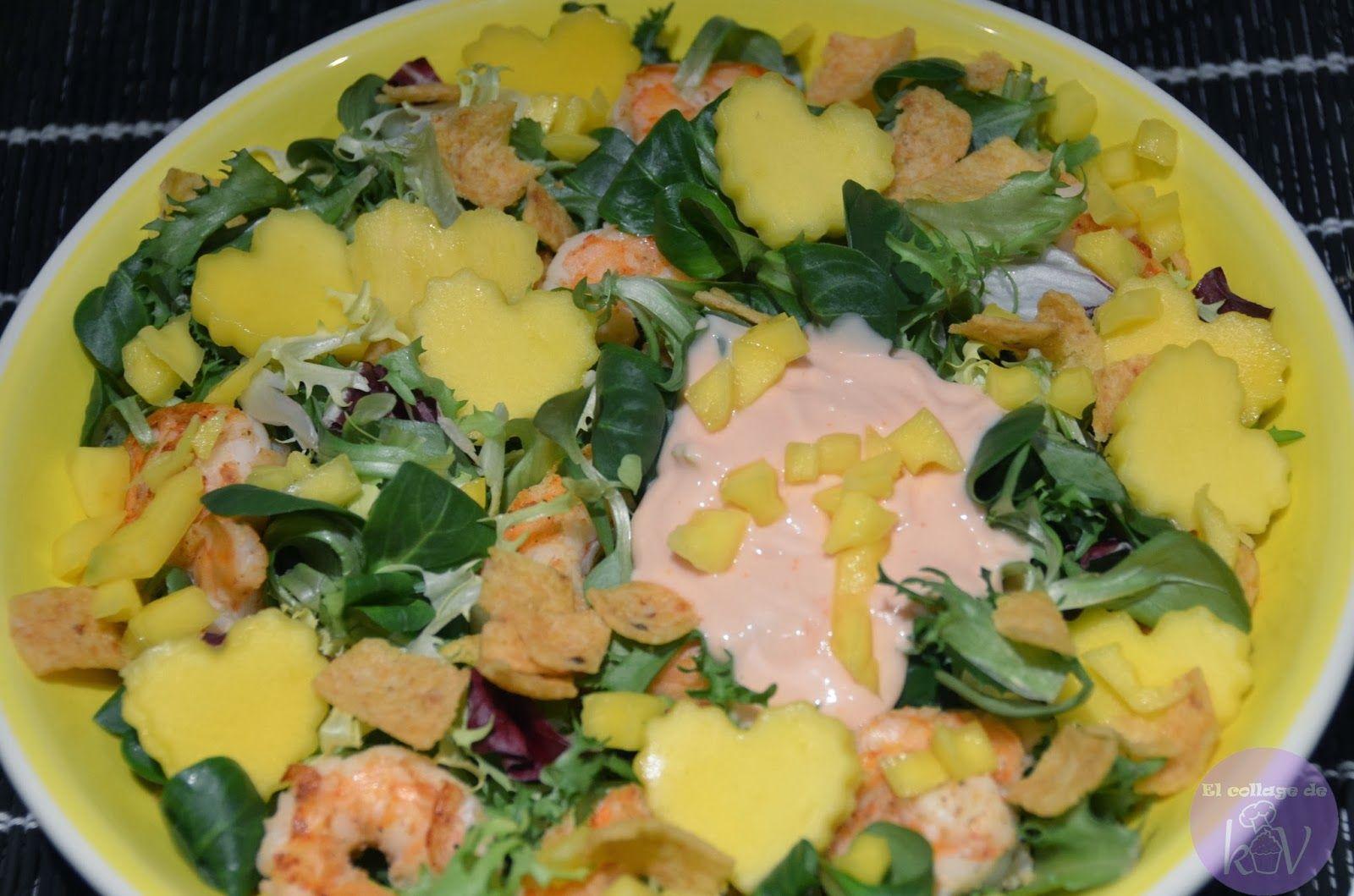 eL cOLLAGE de kIV!!!: Ensalada de langostinos con mango. Recetas San Valentín/ Valentine's day recipe