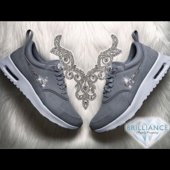 Swarovski Nike Air Max Thea Premium Stealth Grey Authentic Women s Nike Air  Max Thea Premium Leather 3b6f67a78