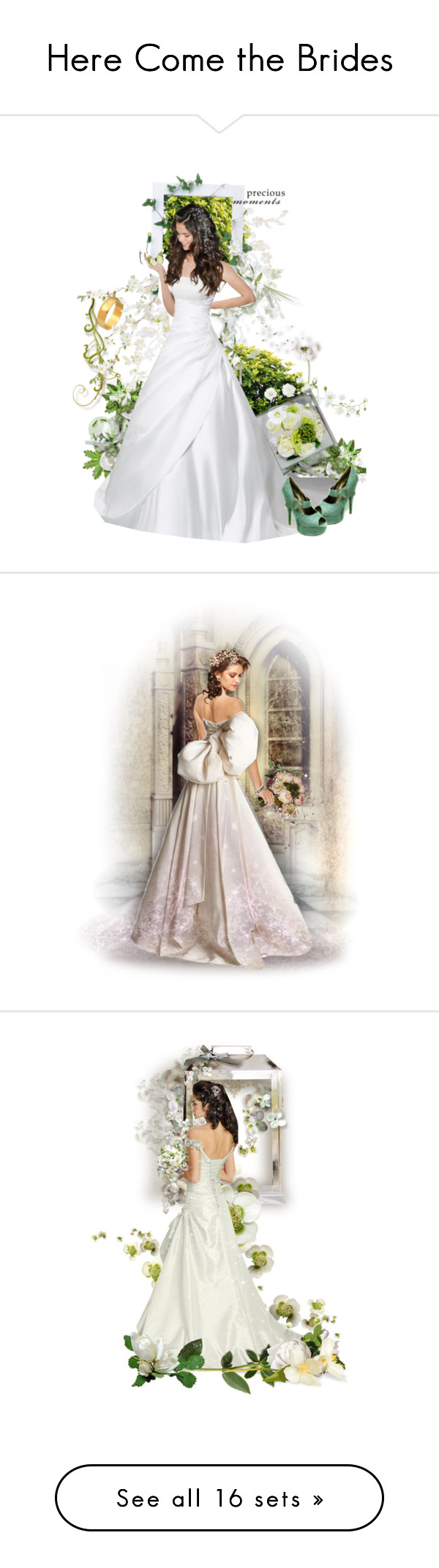 """""""Here Come the Brides"""" by kitty-t ❤ liked on Polyvore featuring arte, doll, dolls, dollcommunity, quiltel, wedding, moda, Unique Vintage, Original y bride"""