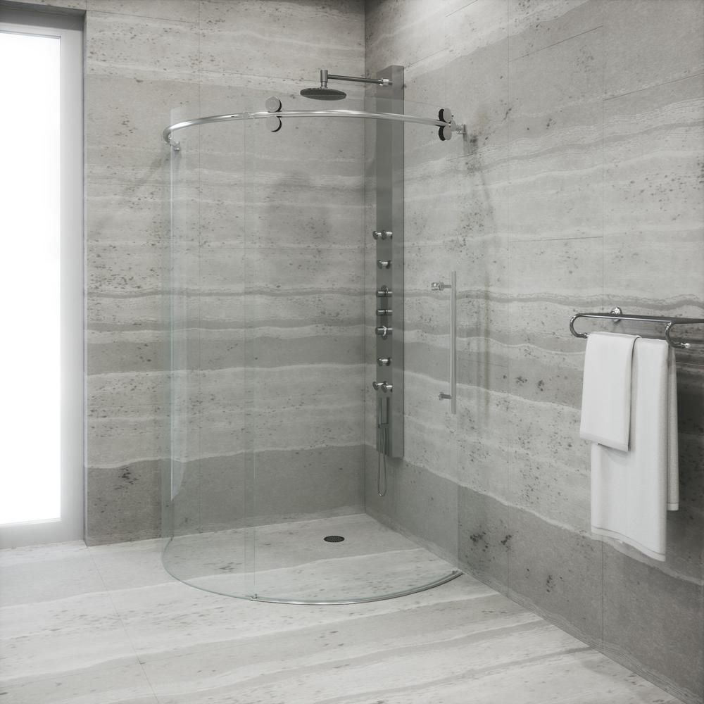 Charmant VIGO Sanibel 38 In. X 74.625 In. Frameless Bypass Round Shower Enclosure  Right Door