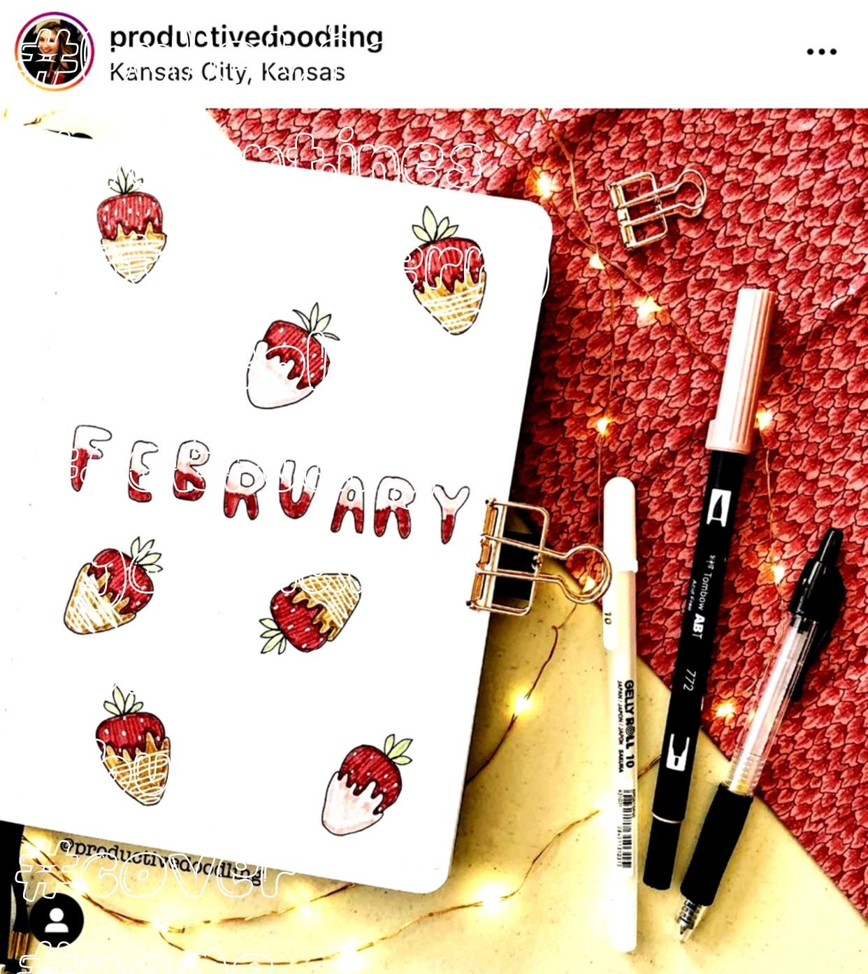 Bullet Journal Cover Page Valentines Day Bullet Journal Chocolate covered strawberry bullet journal cover pageValentines Day Bullet Journal Chocolate covered strawberry b...