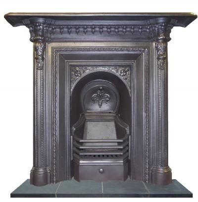 Victorian Small Integral Fireplace Complete With Original Fire