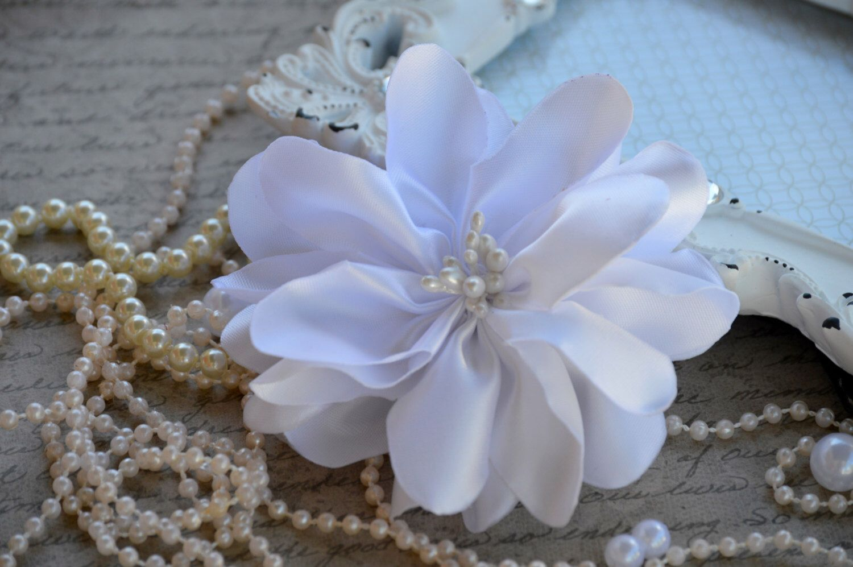Satin Ribbon Flowers 4 Satin Fabric Flowers White Satin Flower