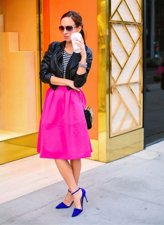 Sydne-Style-hot-pink-skirt-how-to-wear-a-midi-full-circle-express ...