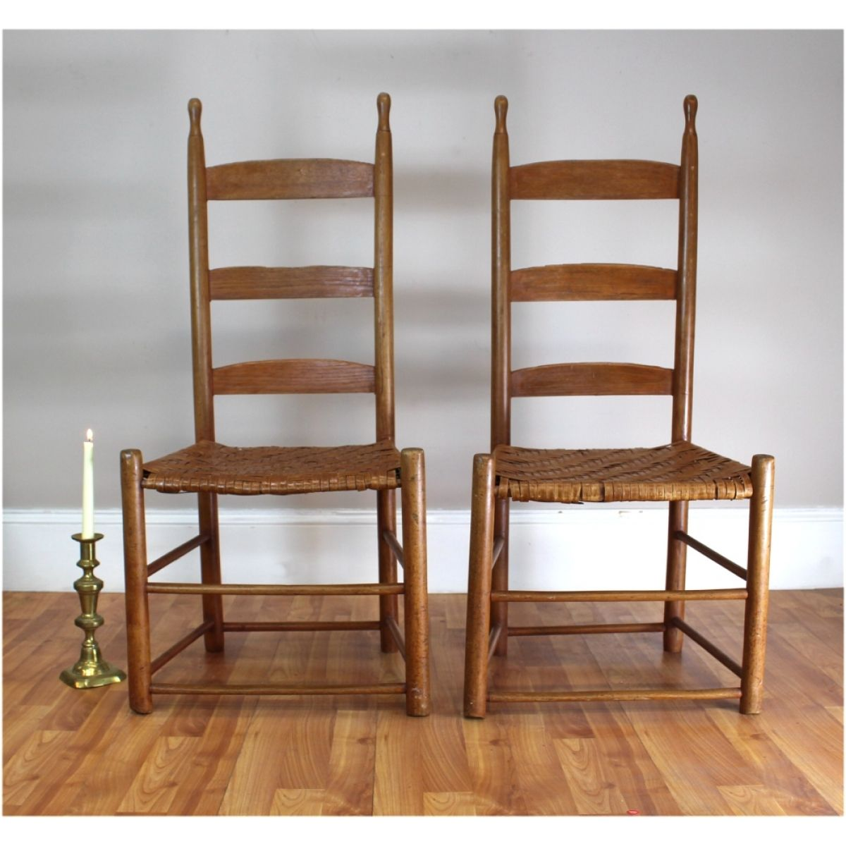 Antique shaker chairs - Antique Shaker Ladderback Ladder Back Pair Of Chair Split Wood Seats Very Rare