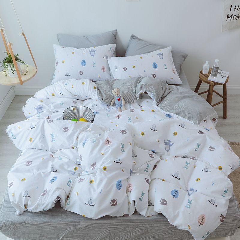 Kids Bedding Set Cartoon Twin Size Bed Set Queen Duvet Cover Set Cotton Designer Bedding Set Animals Printed Kids Bedding Sets Twin Size Bed Sets Bedding Sets
