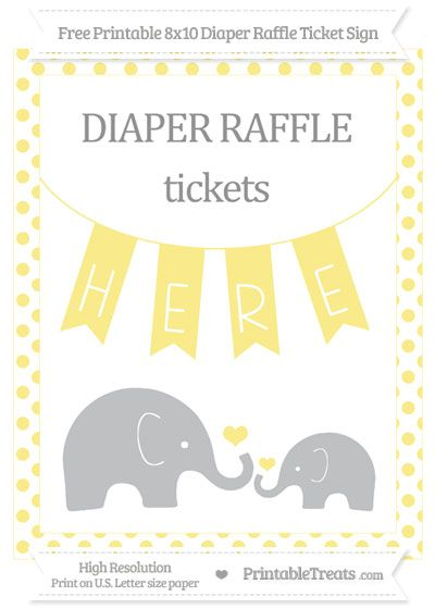 Free Pastel Yellow Dotted Elephant X Diaper Raffle Ticket Sign
