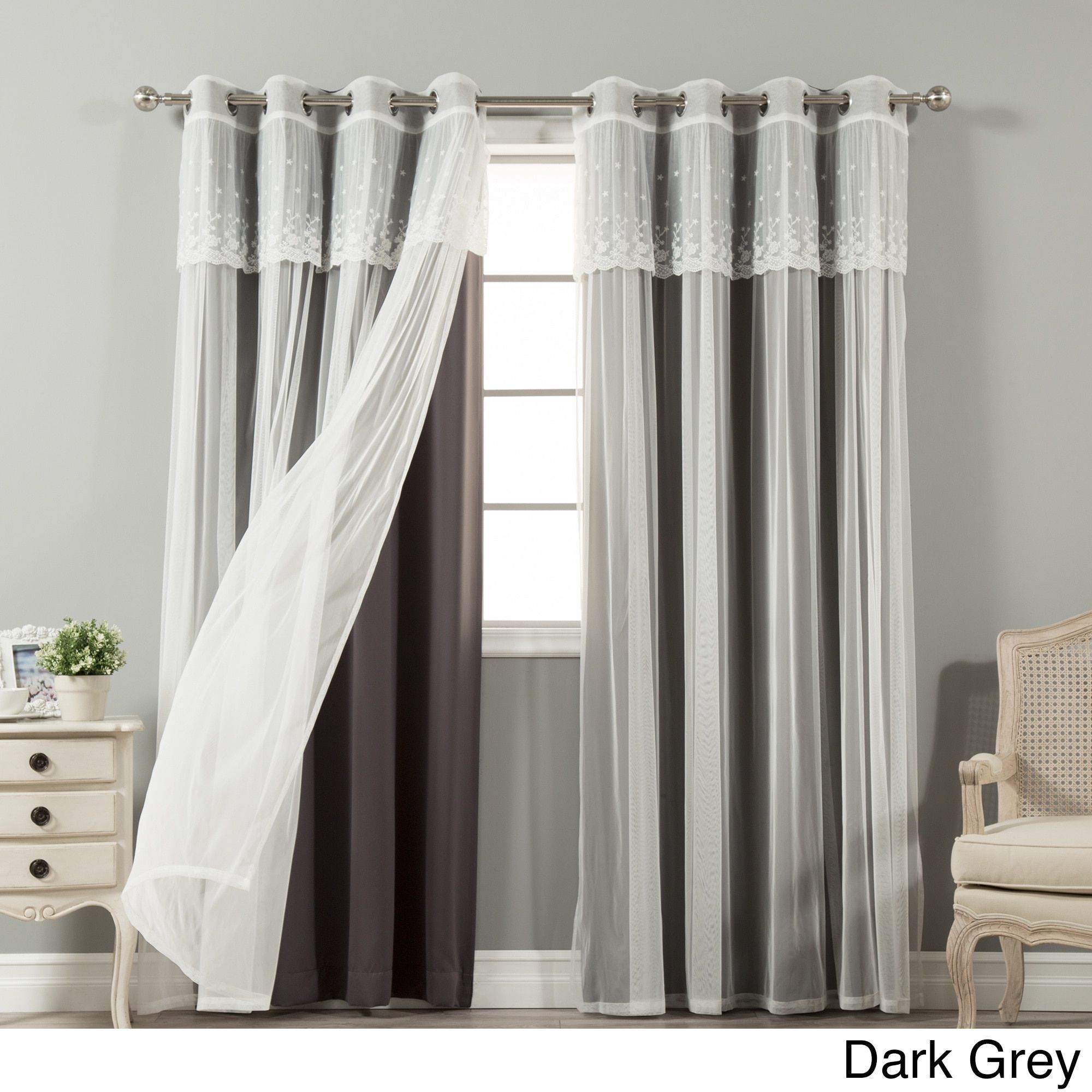Aurora Home Tulle Sheer with Attached Valance and Blackout Mix and ...