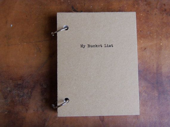 My Bucket List Journal Binder/Natural Kraft Hardcover Notebook/approx 4.25 x 5.5/50 Pages/Rustic/Engagement