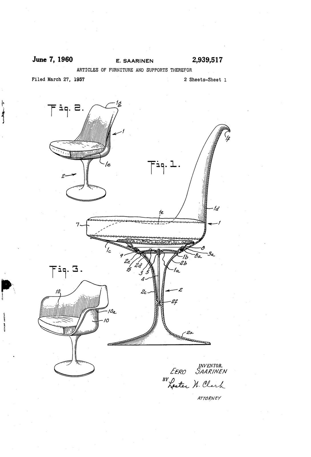Modern furniture sketches chair sketches - 1957 Patent Drawing For Eero Saarinen Chair Us Patent And Trademark Office