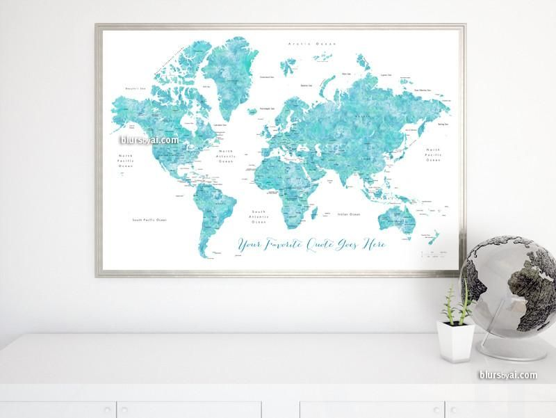 Custom quote printable watercolor world map with countries us custom quote printable watercolor world map with countries us states canadian provinces gumiabroncs Images