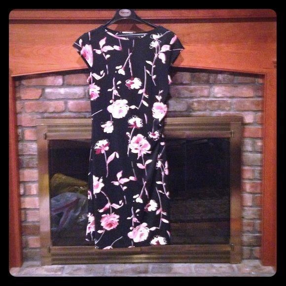Mid Length Black Floral Dress Mid Length Black Floral Dress. Size M New York & Company Dresses