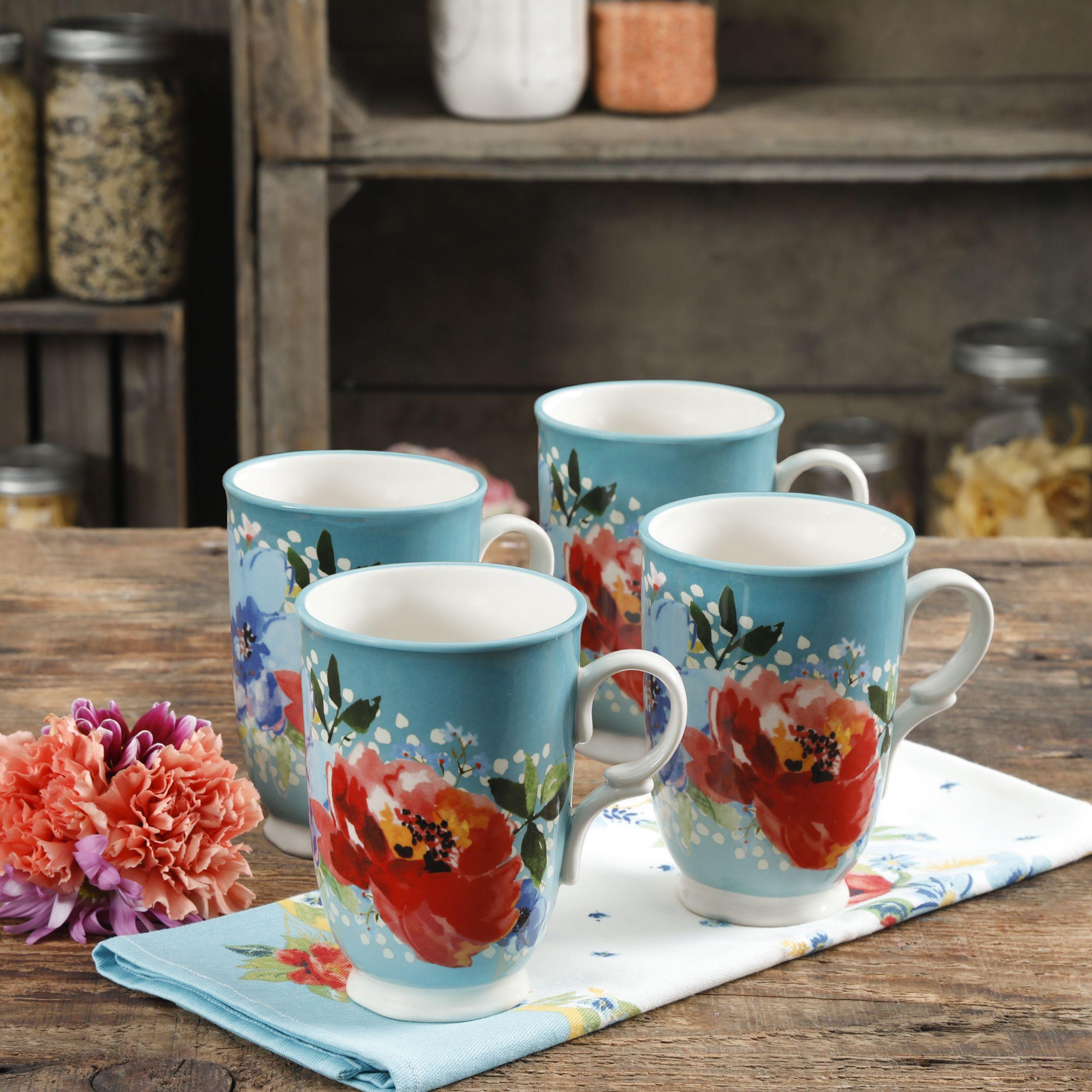 Coffee Mug Pioneer Woman Latte Set Of 4 Jumbo Cups