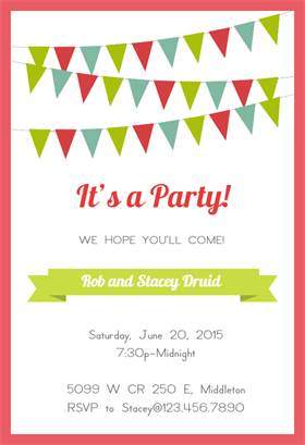 pennants and ribbon red printable invitation template customize add text and photos print or download for free