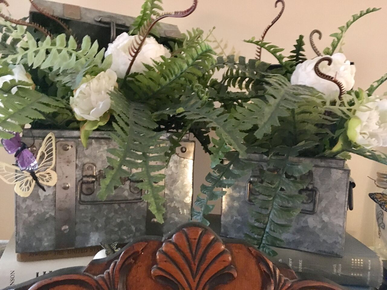 This arrangement sits atop our china hutch the suite was purchased