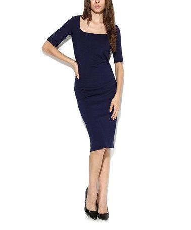 a83451425546  49.99 Another great find on  zulily! Navy Scoop Neck Midi Dress - Women    Plus  zulilyfinds