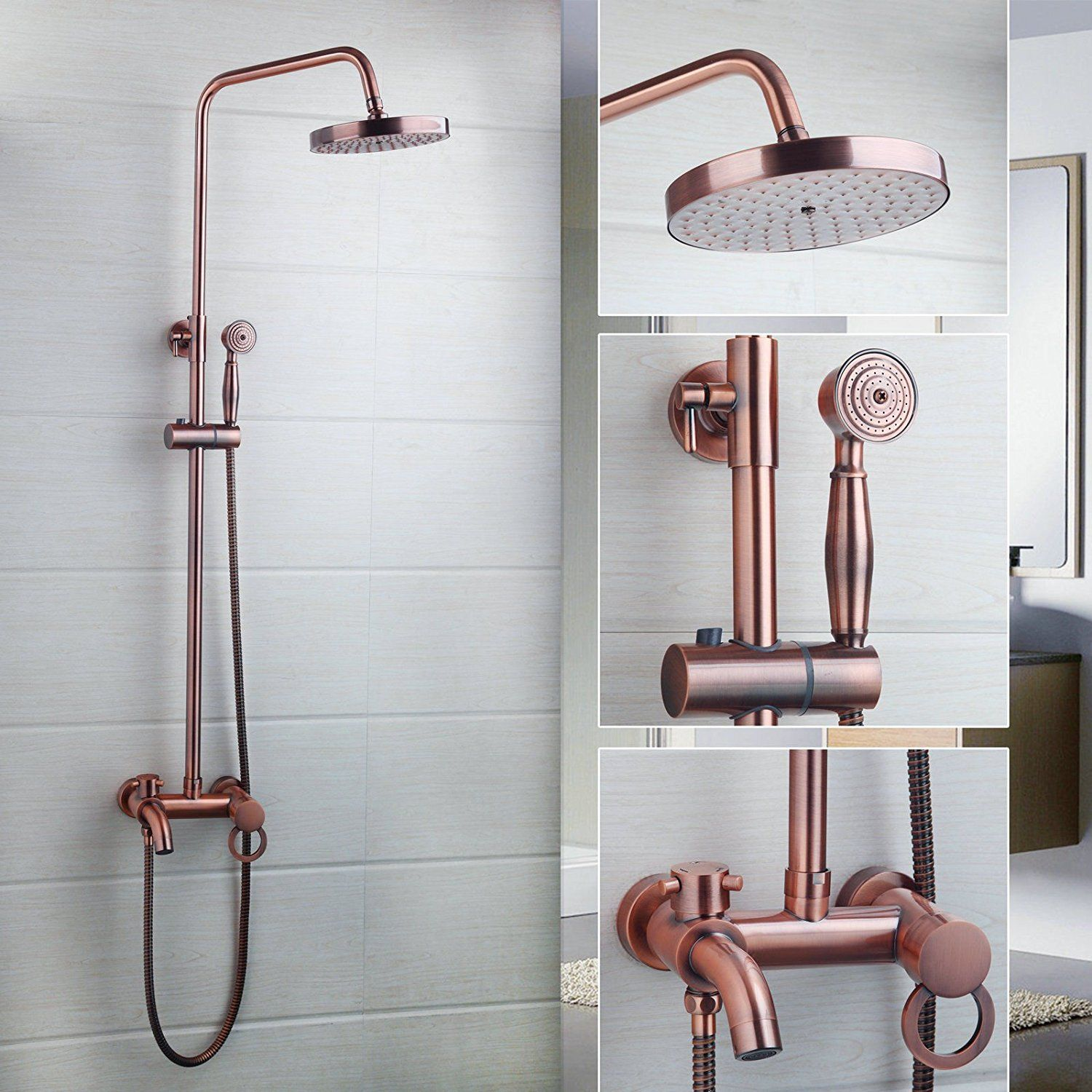 Ohcde Dheark Antique Copper Rainfall Shower Head Hand Faucet Set Spray Mixer Wall Mounted Amazo Banos De Estilo Rustico Alcachofas De Ducha Platos De Ducha