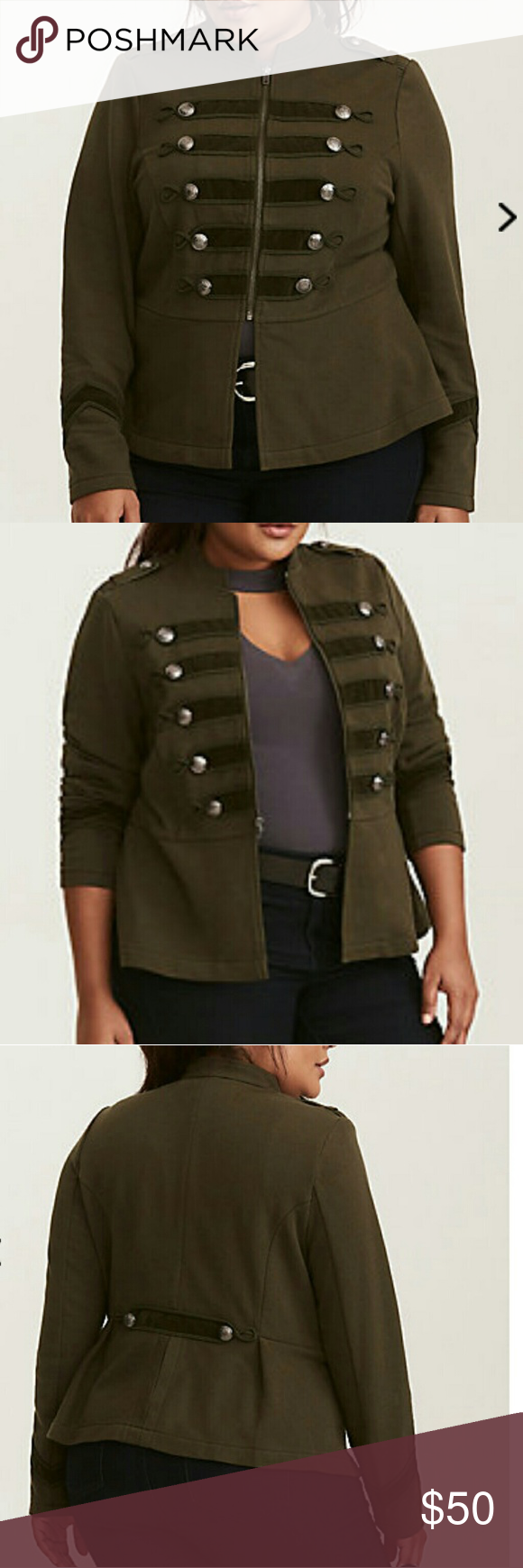 39a692d5e2e New Torrid Embellished Military Jacket Brand New Torrid Embellished Zip  Front Military Jacket. Thick olive green knit gives a high-ranking look and  feel to ...