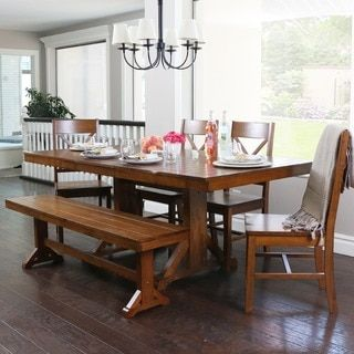 Shop For Countryside Chic 6Piece Antique Brown Wood Dining Set Awesome Chic Dining Room Sets Design Ideas