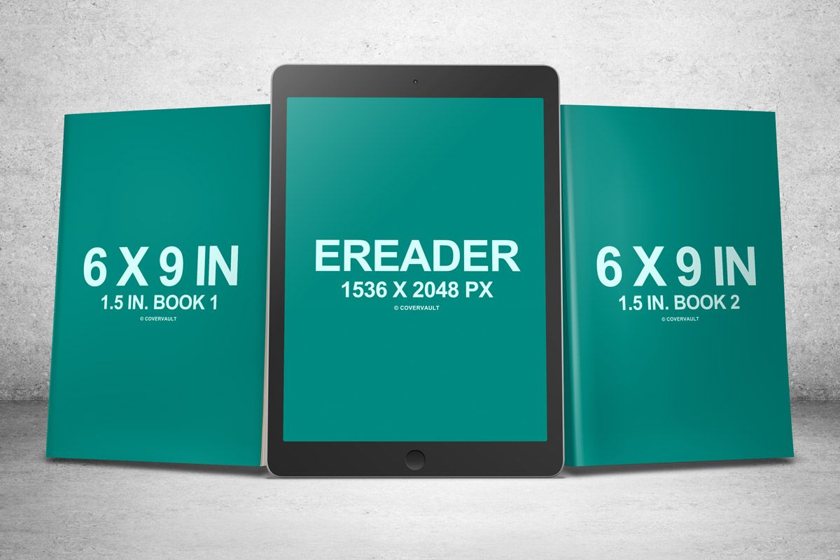 6 X 9 Book Series With Ereader Psd Mockup Books Mockup