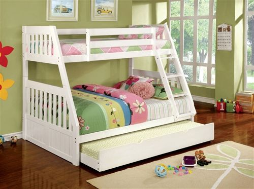 Richfield White Twin Over Full Bunk Bed In 2020 Cool Bunk Beds