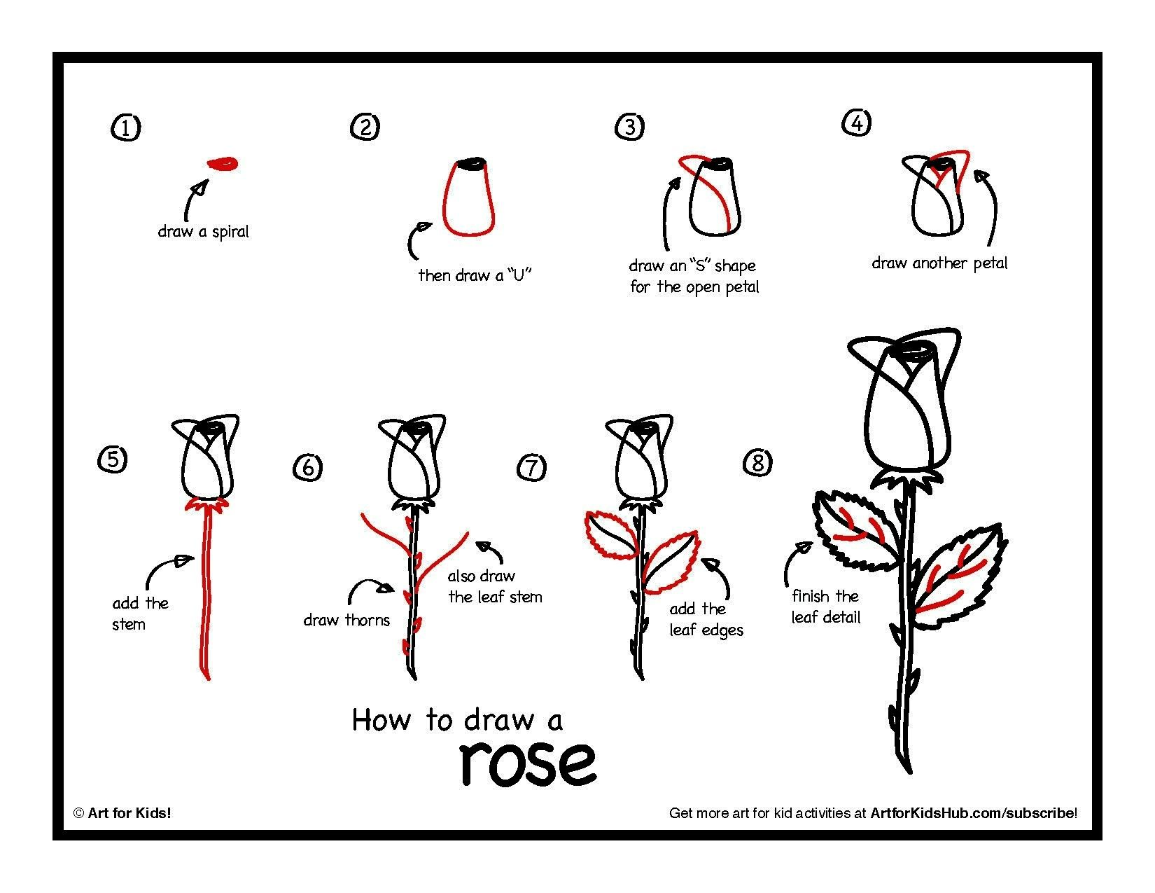 Rose Drawing Easy Step By Step