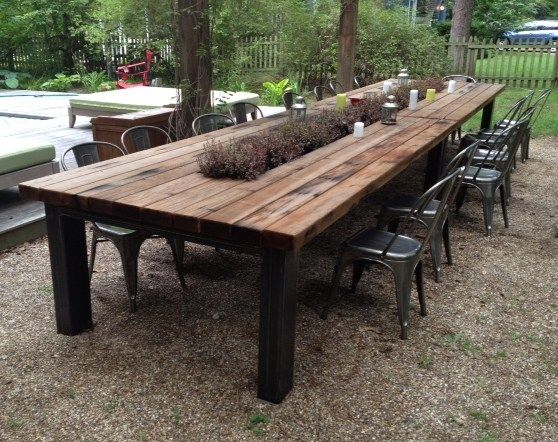 Outdoor Redwood Dining Table with galvanized middle trough and Steel Base - Outdoor Redwood Dining Table With Galvanized Middle Trough And Steel