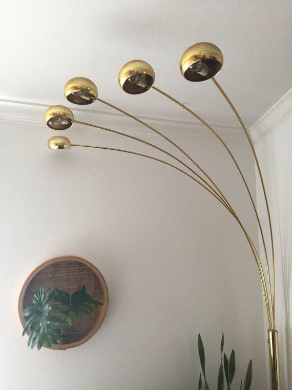 Vintage Mid Century Modern Brass Arc Orb Floor Lamp Spider Pod