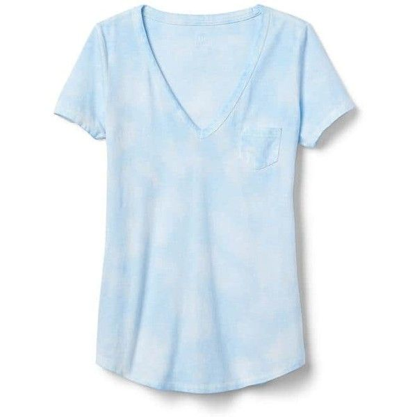 4d8f2c2eada52a Gap Women Vintage Wash V Neck Tee ($17) ❤ liked on Polyvore featuring tops,  t-shirts, light blue wash, tall, v-neck tee, tall v neck t shirts, curved  hem ...