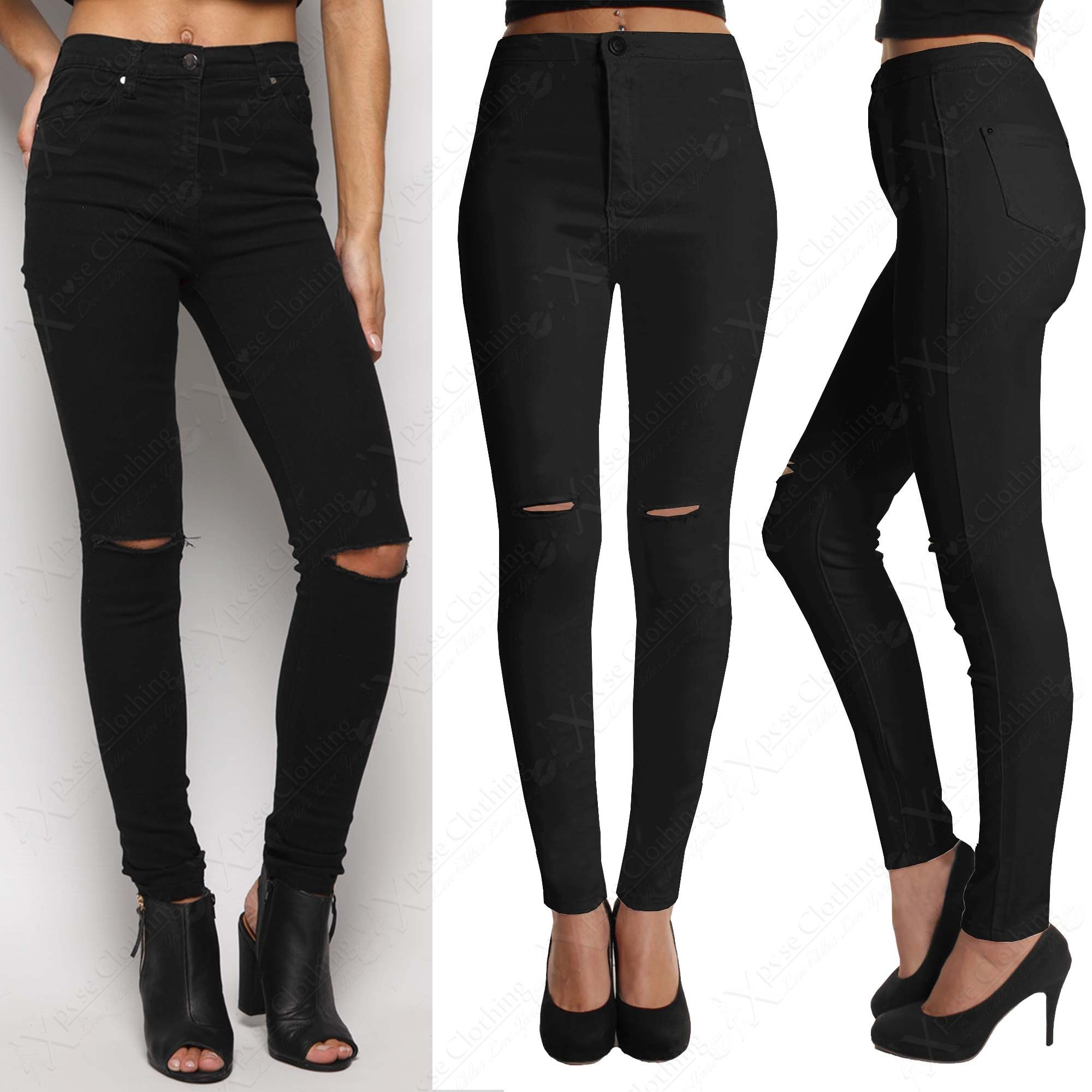 Womens black ripped jeans | Jeans | Pinterest | Ripped knee jeans Black ripped jeans and Ripped ...