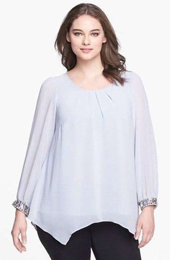 Evans Embellished Cuff Chiffon Blouse (Plus Size) available at #Nordstrom