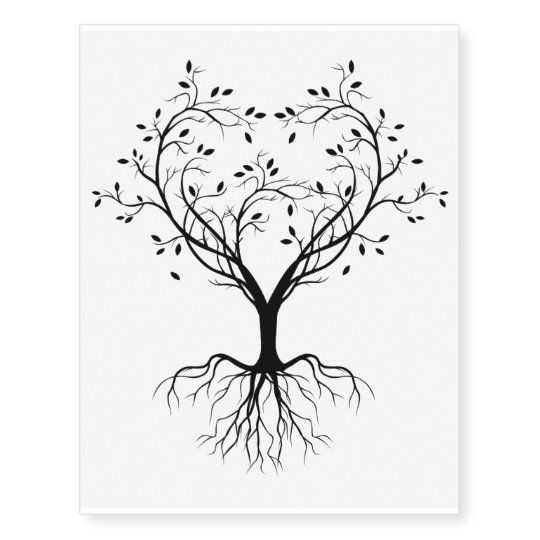 Black Tree of life heart Temporary Tattoos | Zazzle.com