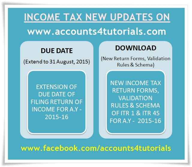 Due Date For Filing Income Tax Returns Extend, New ITR INR Return Forms,  Schema U0026 Validation Rules For The
