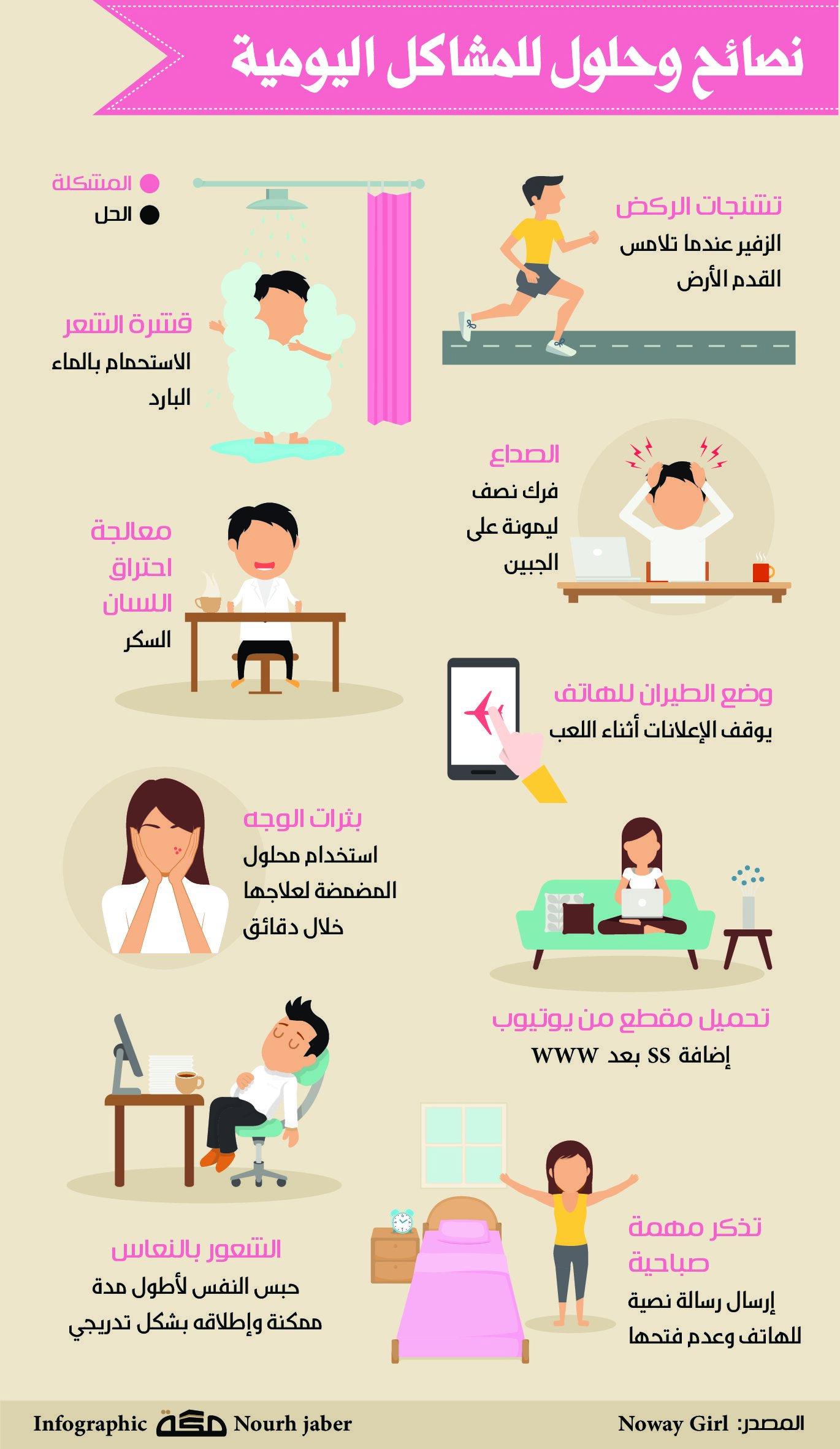نصائح وحلول للمشاكل يومية انفوجرافيك صحيفة مكة تطويرالذات Useful Life Hacks Infographic Bookmarks Kids