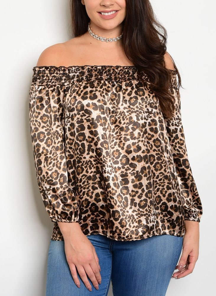 cfe27035e8a71 Plus Size Leopard Animal Print Off Shoulder Top XL 2XL 3XL  Handmade  Tunic   Casual