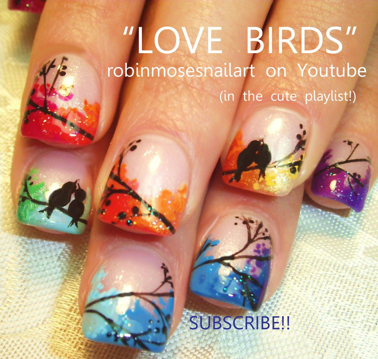 Nail-art by Robin Moses LOVEBIRDS http://www.youtube.com/watch?v ...