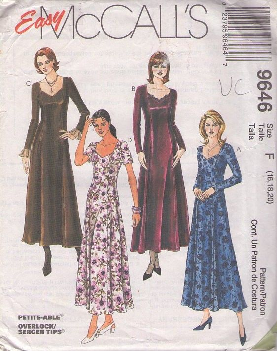 MOMSPatterns Vintage Sewing Patterns - McCall's 9646 Retro 90's Sewing Pattern Easy Sweetheart Neckline Princess Seams Flared Skirt Garden Party Dress Size 16-20