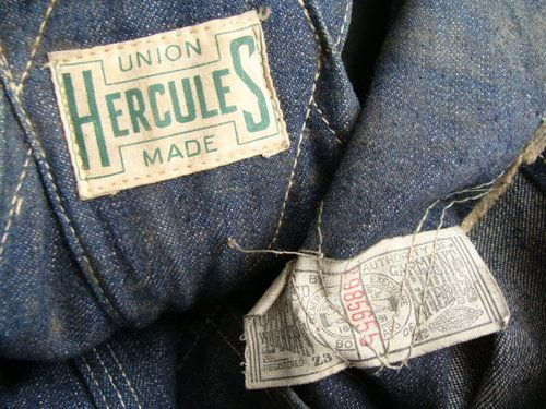 b7fc0e245 Hercules Union Made Overalls, 1940's. found   Labels and Tags in ...