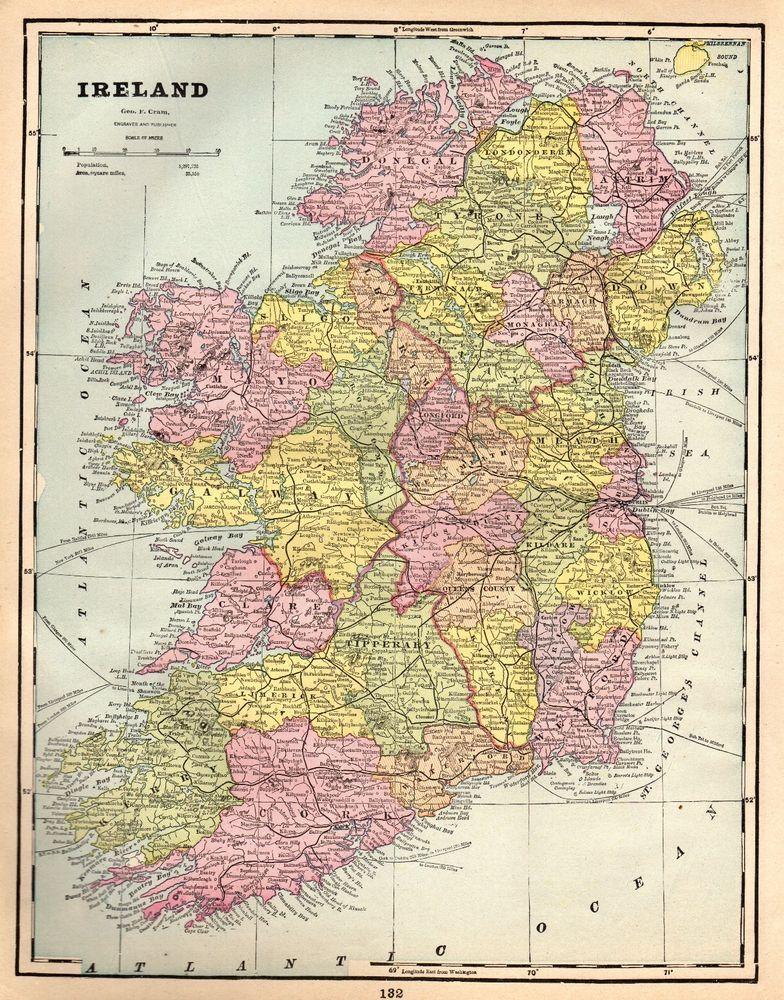 1892 Antique Map Of Ireland Original Vintage Ireland Map Gallery Wall Art 4810 Ireland Map Etsy Wall Art Antique Maps