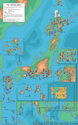 Map of the Pokémon world by James Nichols : imaginarymaps | Pokemon ...