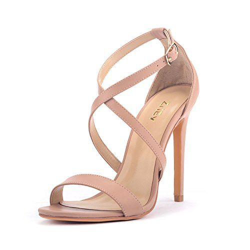 eb25a4cc3d2 ZriEy Women Stiletto Sandals Cross Strappy High Heels 11C.