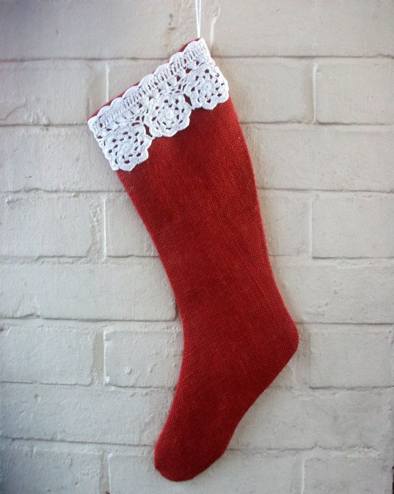 Red Burlap Holiday Stocking with a Vintage Crocheted Trim in White Cotton. $29.00, via Etsy.
