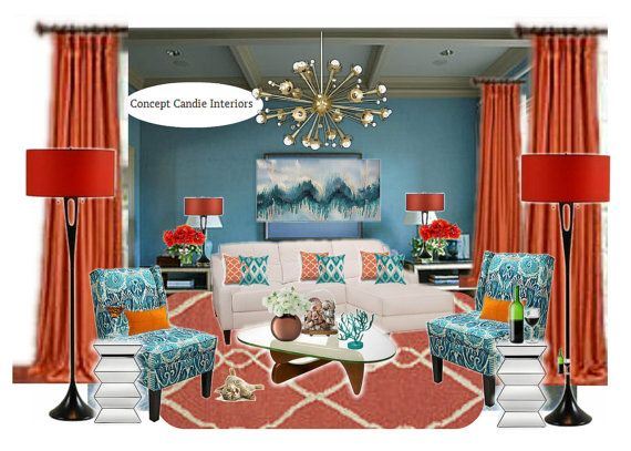Teal And Burnt Orange Living Room Mood Board By ConceptCandie Part 6