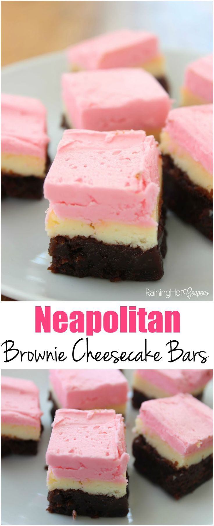 Neapolitan Look Brownie Cheesecake Bars Brownie cheesecake