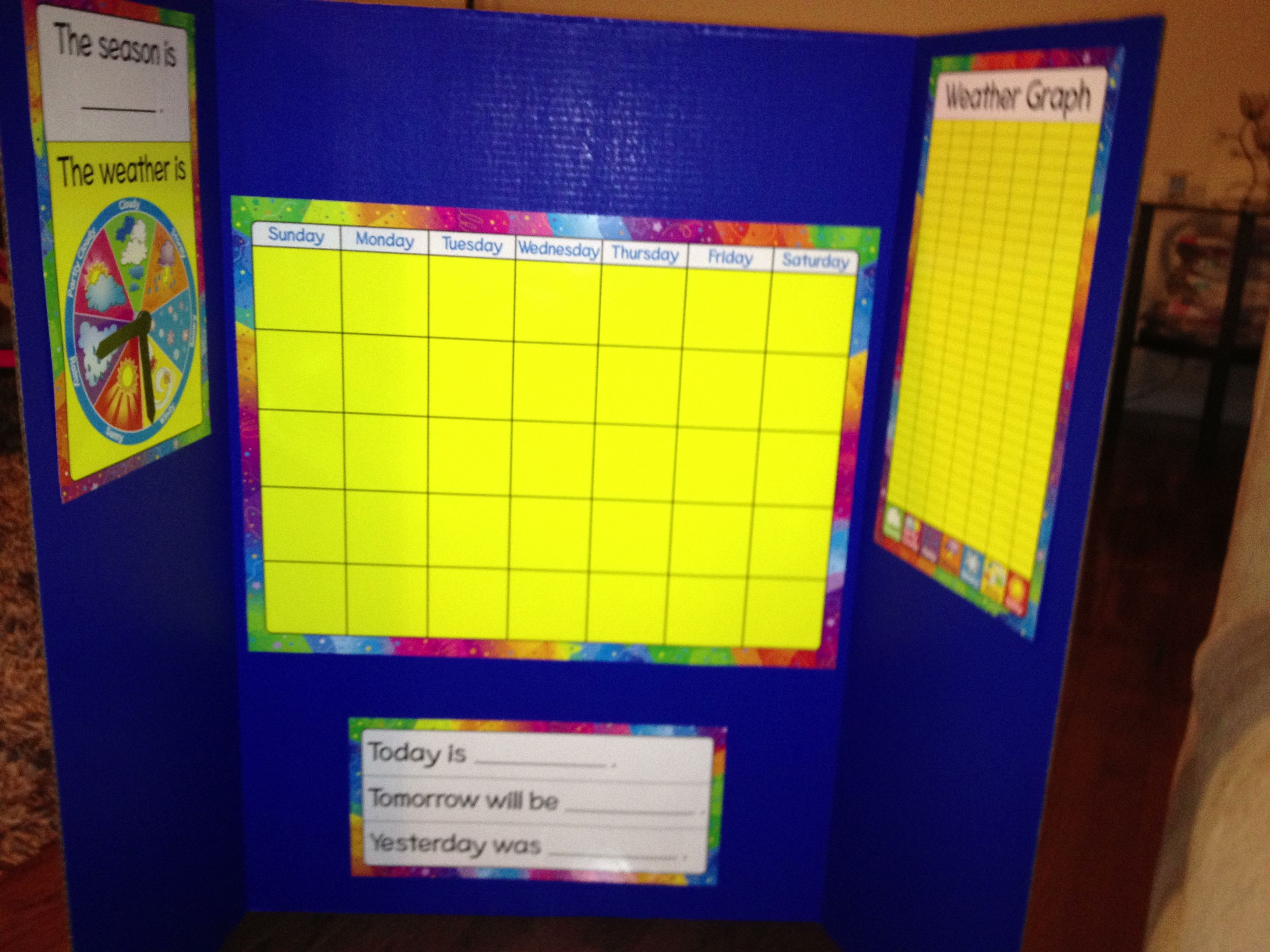 Tri-fold calendar & weather chart--DIY with a kit from Michael's