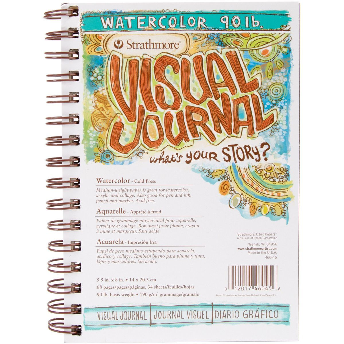 9 by 12-Inch Pro-Art Strathmore Visual Journal Spiral Bound Art Pad Watercolor