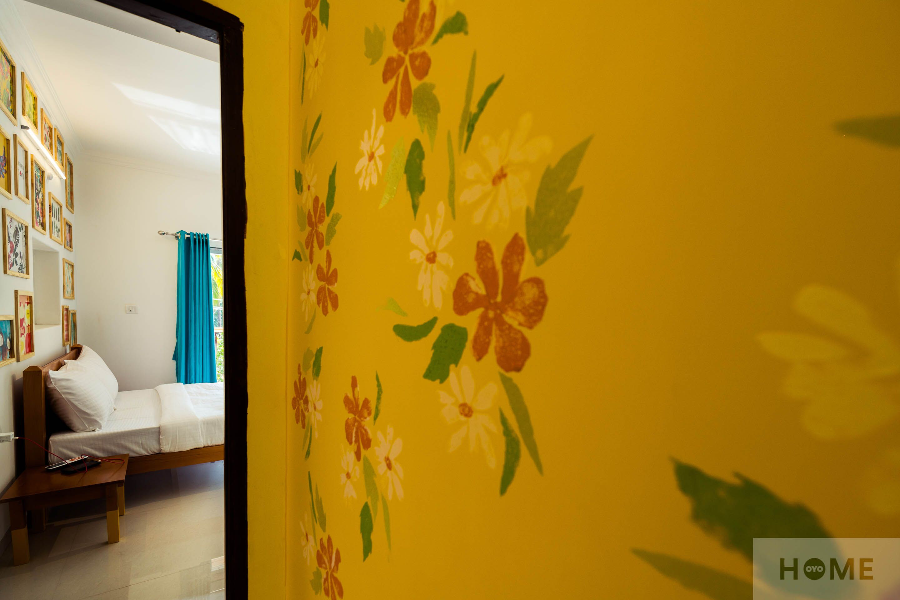 We hand-painted floral designs on the walls in this 2BHK in Goa ...