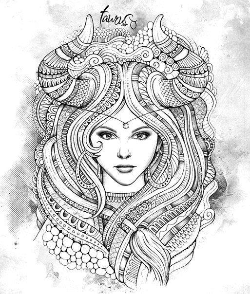 Pin by Римма on Раскраски антистресс | Taurus tattoos ...
